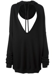 Unravel Project Hoodie Maxi V Neck Sweatshirt Black