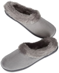Charter Club Microvelour Clog Memory Foam Slippers Only At Macy's Dark Grey