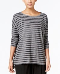 Eileen Fisher Striped Boat Neck Top Ash