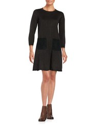 Calvin Klein Faux Suede Trimmed Sweater Dress Charcoal Black
