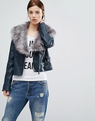Urbancode Pu Bker Jacket With Faux Fur Collar Navy