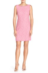 Adrianna Papell Women's Boatneck Lace Sheath Dress Pink