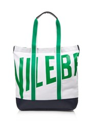 Vilebrequin Bertrand Canvas And Leather Beach Bag White