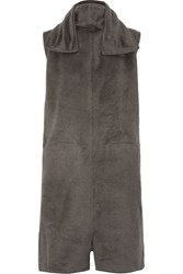 Rick Owens Silk Fleece Turtleneck Jumpsuit Gray