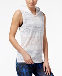 Material Girl Active Juniors' Sheer Sleeveless Hoodie Only At Macy's Bright White