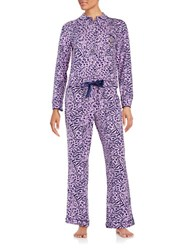 Juicy Couture Leopard Print Pajama Set Purple