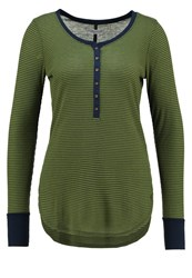 Abercrombie And Fitch Long Sleeved Top Green Navy Oliv
