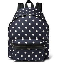 Saint Laurent Leather Trimmed Polka Dot Print Canvas Backpack Blue