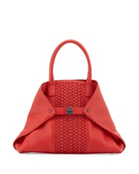 Akris Ai Small Woven Shoulder Bag Scarlet