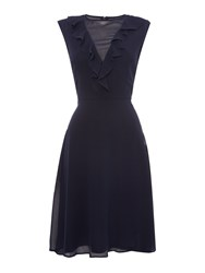 Elise Ryan Sleeveless Frill Neck Midi Dress Navy
