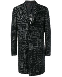 Etro Wool Silk Blend Long Coat Black White