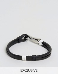 Seven London Leather Hook Bracelet Exclusive To Asos Black Cream