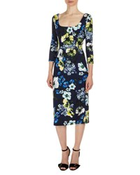 Erdem Tess 3 4 Sleeve Floral Print Dress Navy Yellow Navy Yellow