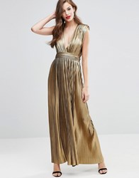 Asos Red Carpet Metallic Pleated Plunge Maxi Dress Metallic Gold