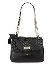 Karl Lagerfeld Quilted Leather Shoulder Bag Black Gold