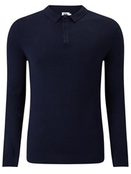 John Lewis Kin By Texture Stitch Long Sleeve Polo Shirt Navy