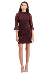 Topshop Bell Sleeve Floral Lace Dress Navy Blue