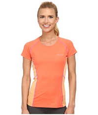 Columbia Freeze Degree Iii S S Tee Coral Flame Peach Foxglove Stitch Women's Short Sleeve Pullover Orange