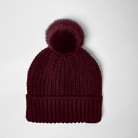 River Island Womens Red Knit Bobble Hat