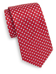 Saks Fifth Avenue Polka Dot Silk Tie Red Blue