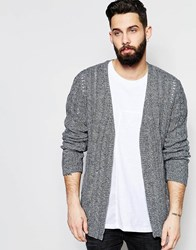 Asos Longline Cable Knit Cardigan With Open Mesh Black And White Twist Grey