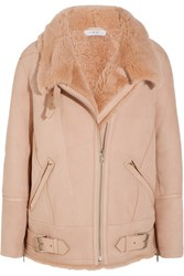 Iro Barrett Shearling Biker Jacket Blush