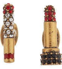 Marc Jacobs Lipstick Cigar Stud Earrings Red Antique Gold