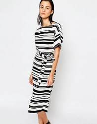 Warehouse Textured Stripe Dress Black And White Multi