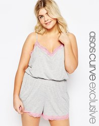 Asos Curve Lace Trim Jersey Teddy Grey