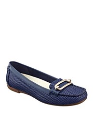 Anne Klein Noris Textured Leather Loafers Blue