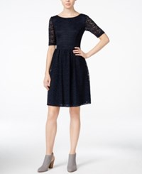 Jessica Simpson Lace Boat Neck A Line Dress Navy
