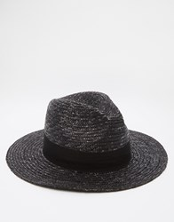 Asos Straw Fedora Hat In Black Black