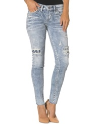 Silver Jeans Aiko Destroyed Patched Skinny Jeans Indigo