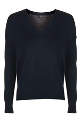 Topshop Fine Knit V Neck Jumper Navy Blue