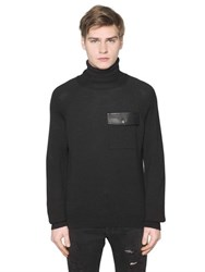 Versus Leather Detail Wool Blend Sweater