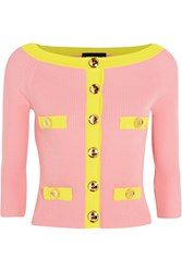 Boutique Moschino Two Tone Ribbed Cotton Cardigan
