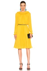 Oscar De La Renta Pleated Long Sleeve Dress In Yellow