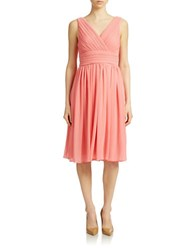 Eliza J Pleated Fit And Flare Dress Coral
