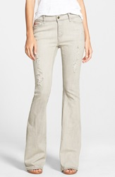 Lee Cooper Destroyed Flare Jeans Beige