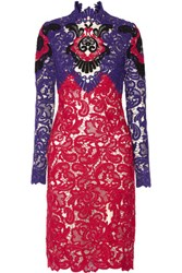 Erdem Orlanda Guipure Lace Dress Purple