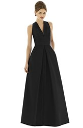 Women's Alfred Sung V Neck Dupioni Full Length A Line Dress Black