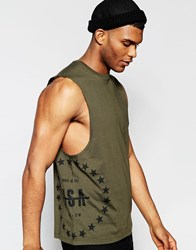 Asos Sleevless T Shirt With Usa Star Print And Dropped Armhole Khaki Green