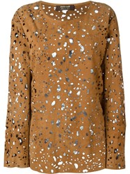 Roberto Cavalli Perorated Suede Blouse Nude And Neutrals