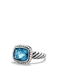 David Yurman Noblesse Ring With Hampton Blue Topaz And Diamonds Silver Blue