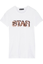 Markus Lupfer Star Sequin Embellished Cotton T Shirt