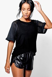 Boohoo Mesh Sleeve And Back Black