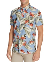Barney Cools Floral Romeo Slim Fit Button Down Shirt Blue