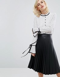 Fashion Union Blouse With Ribbon Ties In Spot White