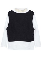 Toga Pulla Layered Cotton And Wool Top Navy