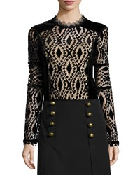 Nanette Lepore Long Sleeve Lace And Velvet Peasant Blouse
